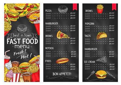 快餐餐厅黑板菜单模板