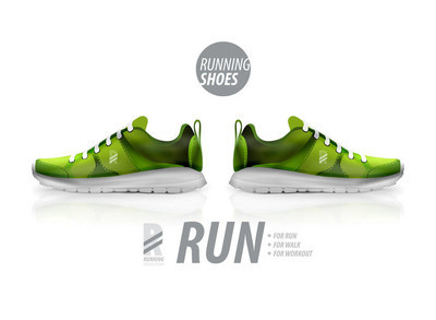 矢量的跑鞋广告产品模板