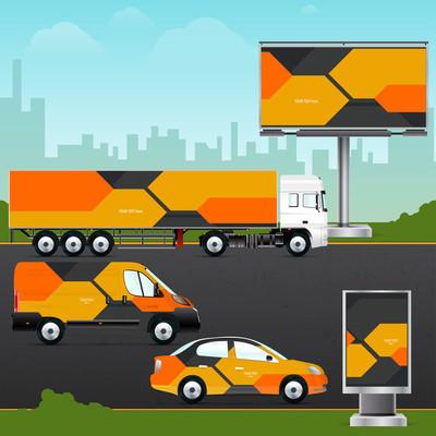 Design template vehicles, outdoor advertising