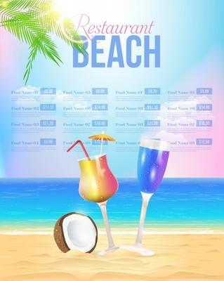 Summer Theme Beach Restaurant Menu Vector Design
