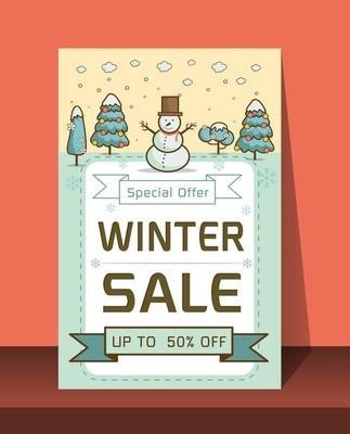 冬季销售横幅矢量图