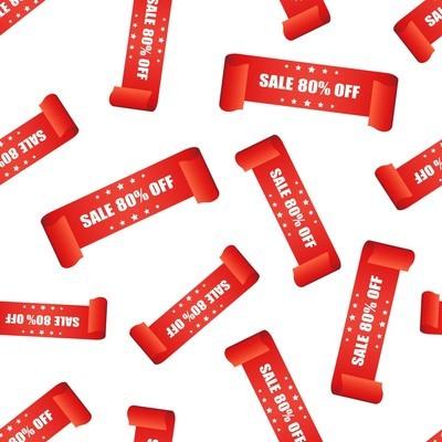 销售80% 条缎带无缝模式背景。商务平 vecto