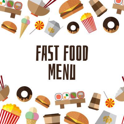 与多彩简单平面图标的快餐菜单模板