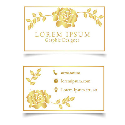 优雅的模板名片, 带金色玫瑰花和叶子。浅花卉名片模板。向量例证
