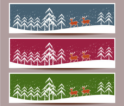 快乐的圣诞节横幅集设计、 矢量图