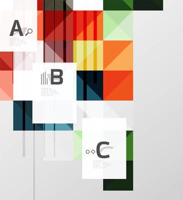 现代几何方形横幅、 简约抽象背景