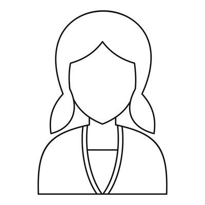 妇女头像图标,大纲样式