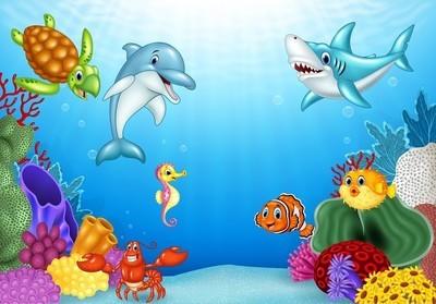卡通热带鱼和美丽的海底世界