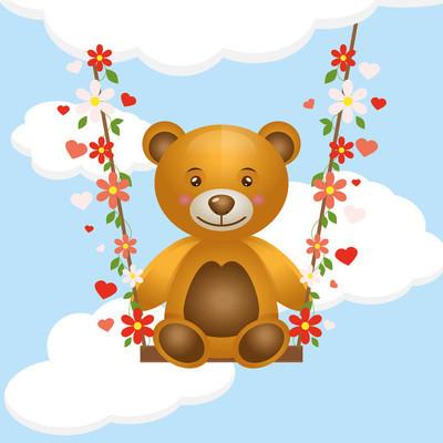 玩具小熊在秋千上