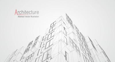 现代建筑线框图。城市线框图的概念。建筑 Cad 绘图的线框建筑插图