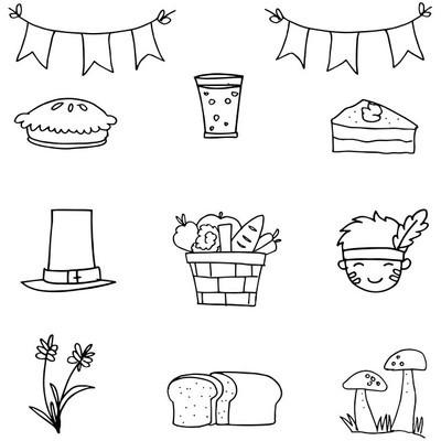 手画感恩节设置涂鸦