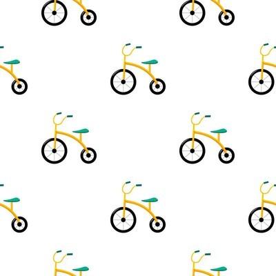 三轮车在白色背景上孤立的卡通风格的图标。发挥园林格局股票矢量图