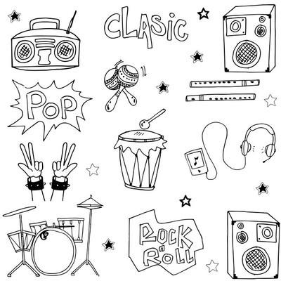 音乐设置涂鸦矢量图