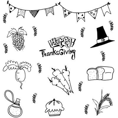 涂鸦的食物感恩节