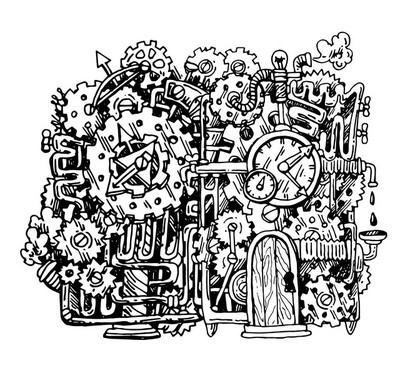 蒸汽朋克手画插图