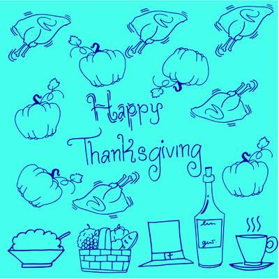 感恩节涂鸦南瓜鸡