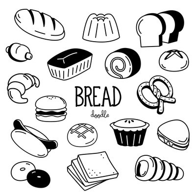 Doodle Bread. Hand drawing styles for bread.