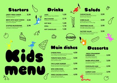可爱的多彩膳食孩子菜单模板与可爱的小怪物