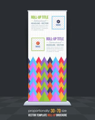 瓦楞三角形元素业务易拉宝模板,垂直广告设计
