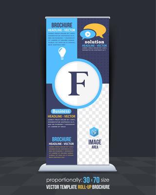 字母 F 概念业务易拉宝模板,垂直广告设计