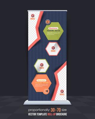 业务易拉宝模板,垂直广告设计