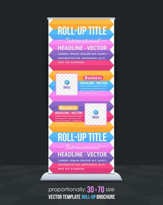 丰富多彩的业务易拉宝模板,垂直广告设计