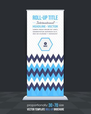 三角形元素业务易拉宝模板,垂直广告设计