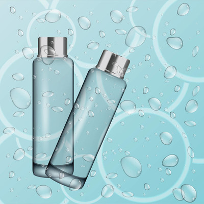 Two Blank plastic tubes  lotion in water eps 10 vector design