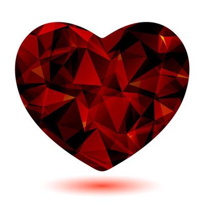 暗红色的多边形心