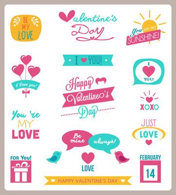 Valentine's day set - labels