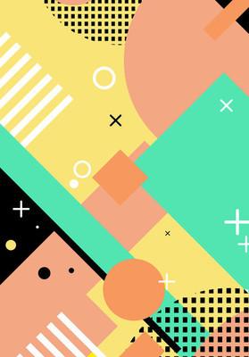 平面孟菲斯风格的线条与点的几何背景