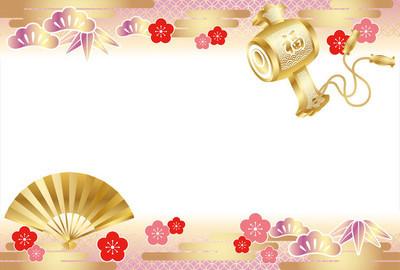日本传统吉祥商品的新年份卡片模板