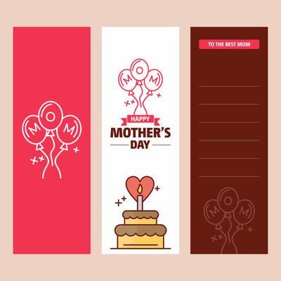 母亲节快乐卡片模板, 矢量插图