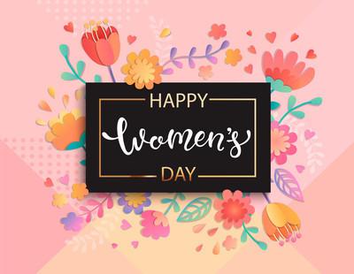 卡片为快乐的妇女日在方形的黑框在柔和的颜色与美丽的花。模板, 横幅, 传单, 请柬, 海报