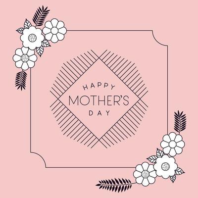 母亲节快乐的鲜花装饰卡