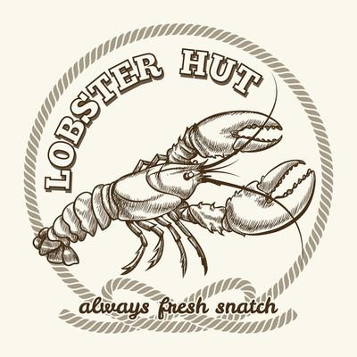 Seafood restaurant retro poster