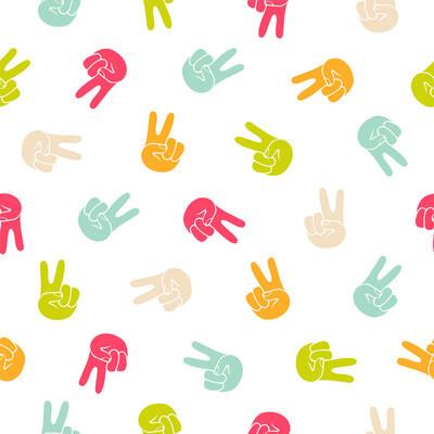 Seamless  pattern - peace hand symbol