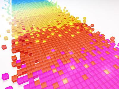 Gradient color pixel mosaic background (3d HD render)
