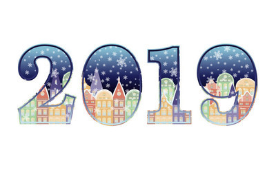 Happy New 2019 year banner, vector illustration