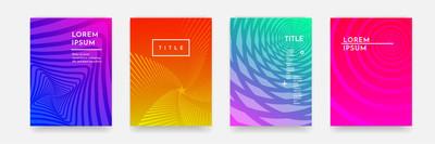 书封面模板矢量集的颜色渐变抽象几何图案纹理