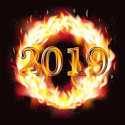 Happy New 2019 Year fire wallpaper, vector illustration