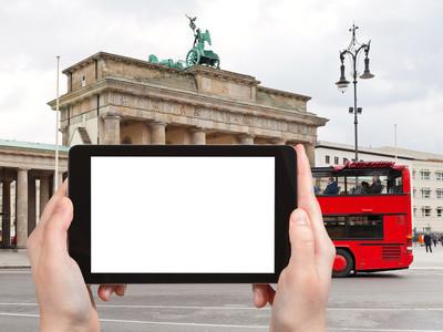 红色旅游巴士在柏林的旅游照片