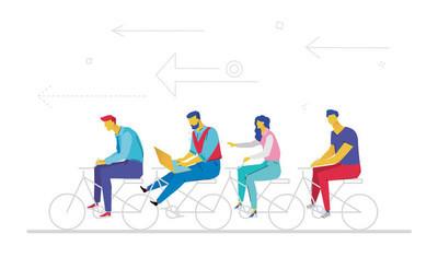 商务团队-平面设计风格多彩插画