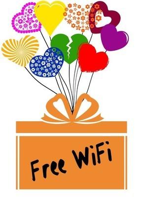 免费 Wifi 在礼物盒与五颜六色的心脏