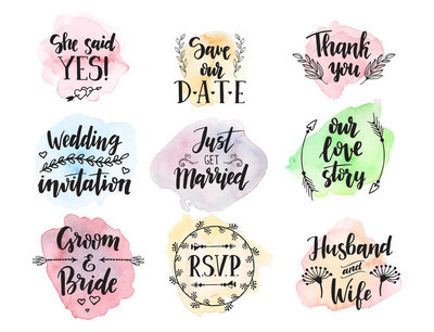 结婚日求婚短语文字刻字请柬书法手绘问候爱标签浪漫矢量插画