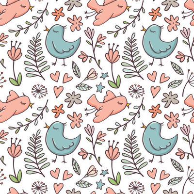 白色的鸟和花的无缝图案