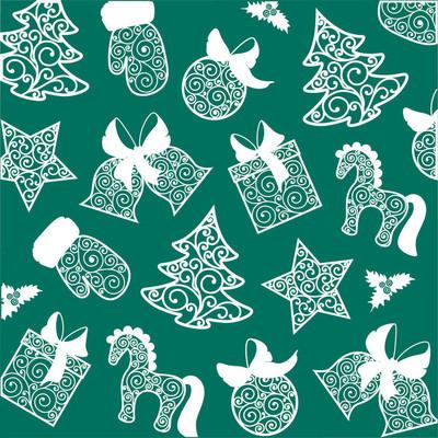 明亮的圣诞节插图。明亮的剪影圣诞节玩具白色绿色背景