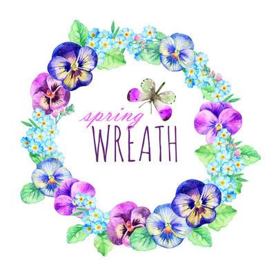 三色紫罗兰和勿忘我的水彩花环