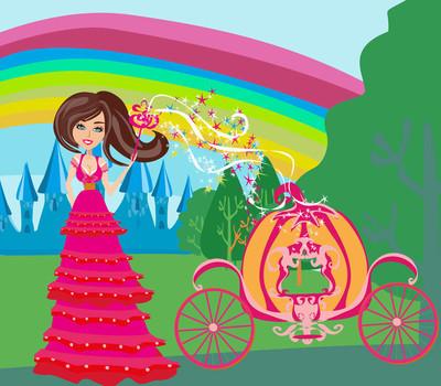 一位仙女和南瓜马车插图