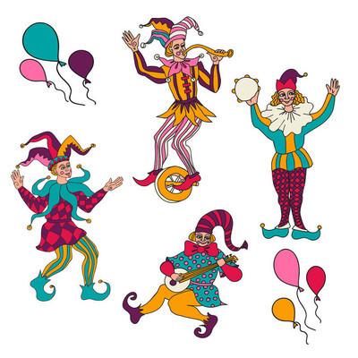 一整套的草图的小丑。涂鸦。愚人节